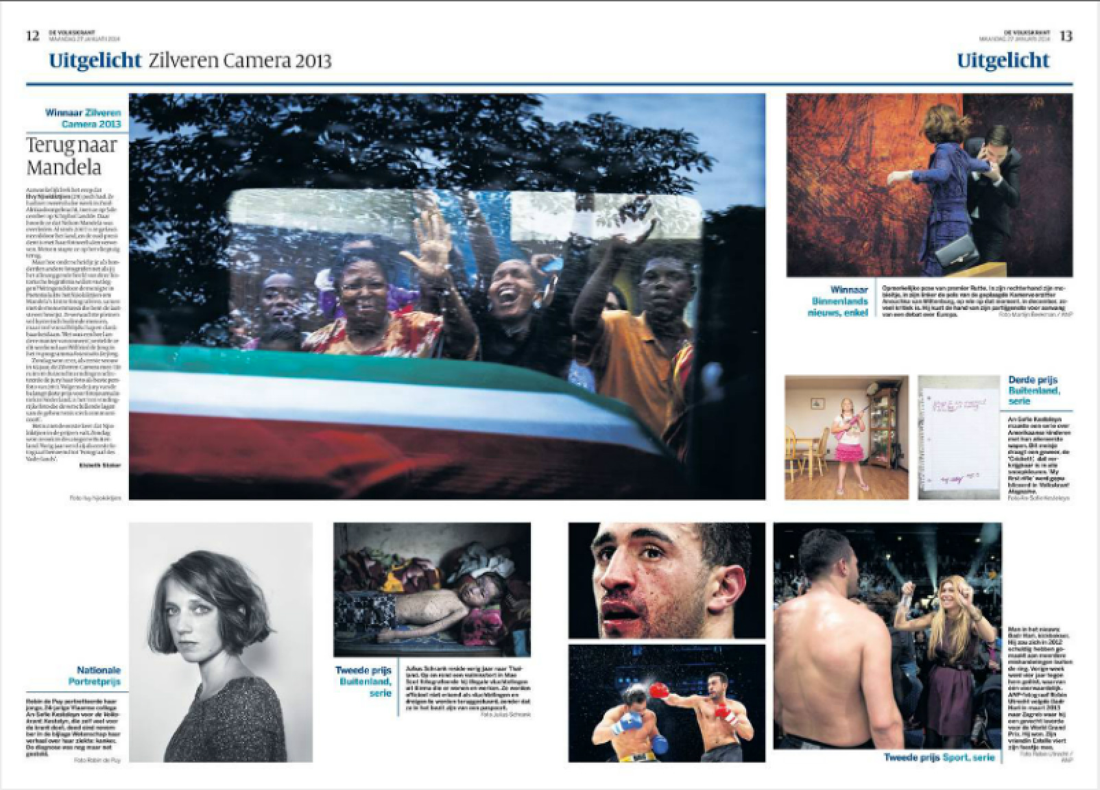 Fotopagina's over de Zilveren Camera in de Volkskrant