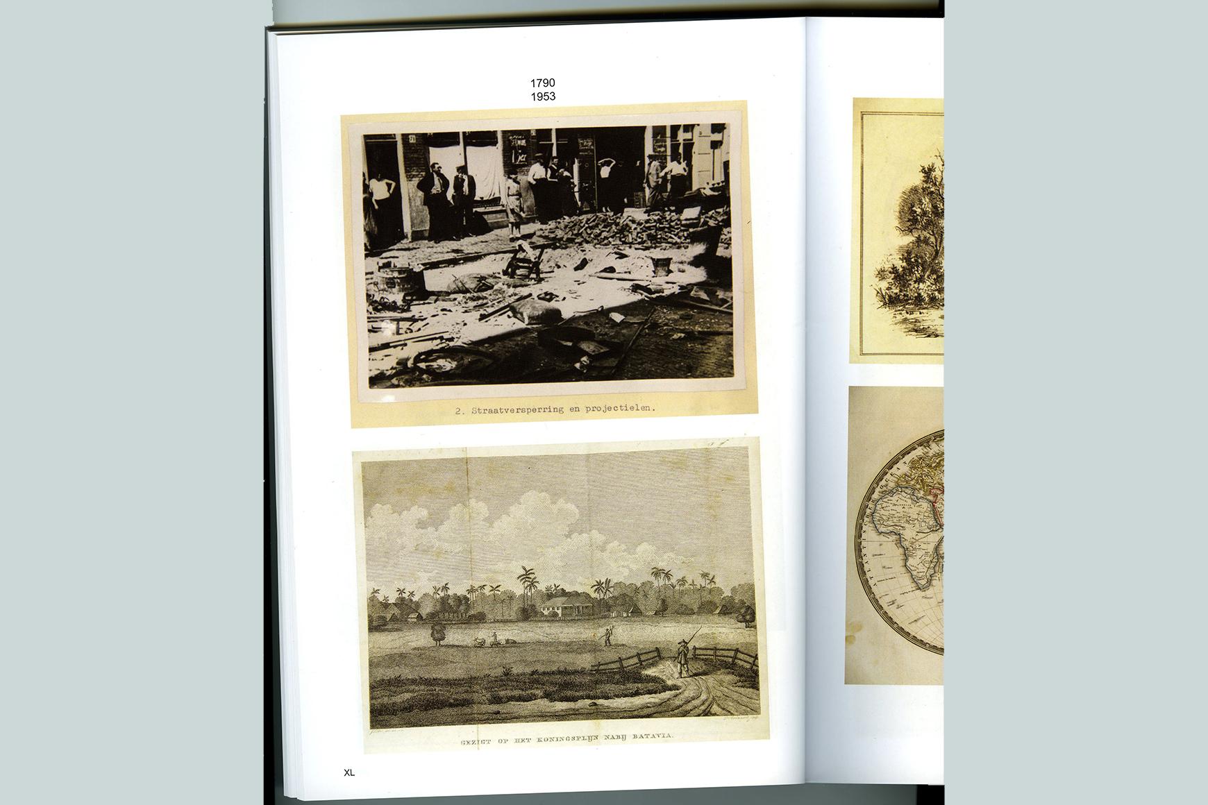 Pagina uit veilingcatalogus Bubb Kuyper, boven een politiefoto van de Jordaanoproer, Amsterdam 1934