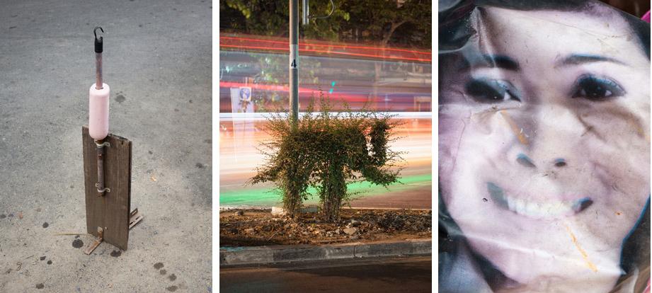 'Parkeerplaatsvrijhouder #1, 'stoeprandscultuur #9' en 'kreukelgezicht #5' / Foto's Enver Hirsch